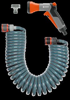 Шланг спиральный 10 м для террас с фитингами для подключения