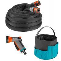 """Шланг текстильный Liano 13 мм (1/2""""), 10 м с комплектом для полива и сумкой для хранения (коннектор стандартный и с автостопом, наконечник для полива_0"""