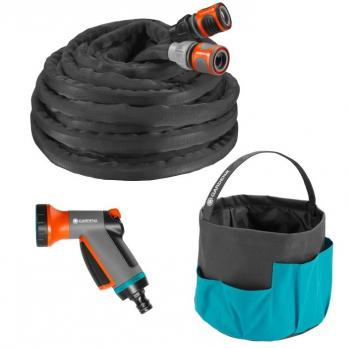 """Шланг текстильный Liano 13 мм (1/2""""), 10 м с комплектом для полива и сумкой для хранения (коннектор стандартный и с автостопом, наконечник для полива"""